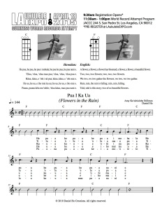 Sheet Music courtesy of the JACCC and U-Space, its resident ukelele cafe. The .pdf version can be found here: http://tinyurl.com/ml48779.
