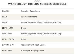 Complete schedule for Wanderlust 108. Image from http://tinyurl.com/k5eofkc