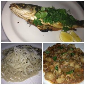 More yum! Top: Whole Branzino. Bottom left: Chitarra. Bottom right: Maccheroni.