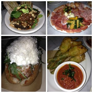 YUM! Clockwise from top left: Eggplant Caponata, Italian Cold Cuts, Meat Ball Hero, Crispy Squash Blossoms.
